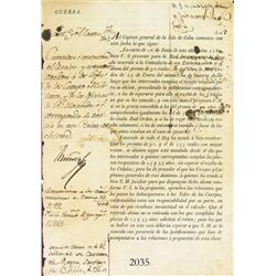 Original military document from Santiago in colonial Chile dated 1804.