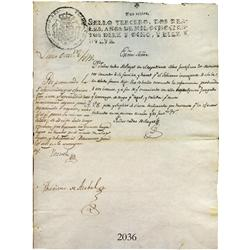 Original Vice-regal document from Lima in colonial Peru dated 1818.