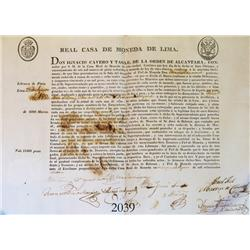 Original mint document from Lima in colonial Peru dated 1820.
