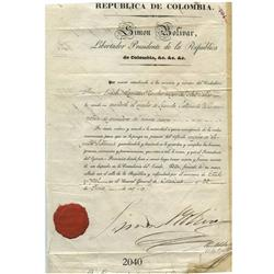 Original military document signed by Simon Bolivar from Caracas in the Republic of Colombia (now in