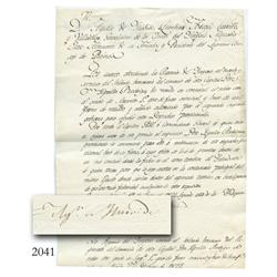 Original military document signed by Emperor Iturbide from Mexico City dated 1822.