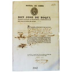 Original mint document from Lima in the Republic of Peru dated 1823.
