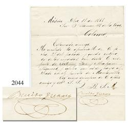 Original personal correspondence document signed by President Benito Juarez from Colima in the Repub