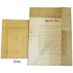 Original mining rights document from Cuevas in the United States of Mexico signed by President Porfi