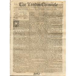 English 1776 The London Chronicle newspaper, Vol. XL, No. 3112 (November 14-16, 1776).