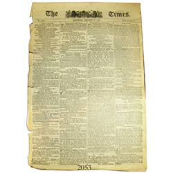 English 1793 The Times newspaper, No. 2517 (January 26, 1793) with article about the execution of th