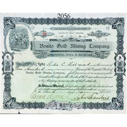 United States 1895 stock certificate for 500 shares at $1 each in the Bonito Gold Mining Co. of West