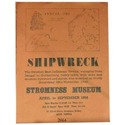 Poster for Stromness Museum (Orkney Islands, north of Scotland) exhibition of artifacts from the wre