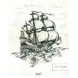 Signed serigraph print #52 of the Concepcion shipwreck of 1641, printed with indigo dye salvaged fro