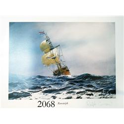Signed lithograph print #84 of the Rooswijk shipwreck of 1739, limited edition (400 copies made), by