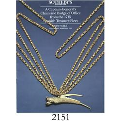Sotheby's (New York). A Captain-General's Chain and Badge of Office from the 1715 Spanish Treasure F