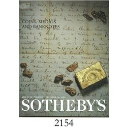 Sotheby's (New York). Coins, Medals and Banknotes (December 14, 2000), with prices realized.
