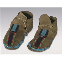"Cheyenne Beaded Moccasins, 19th century, 10"" long"