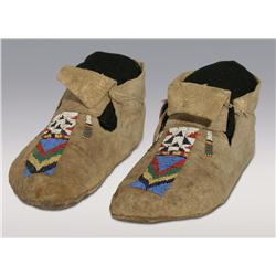 Arapaho Man's Moccasins, C. 1870s, excellent condition