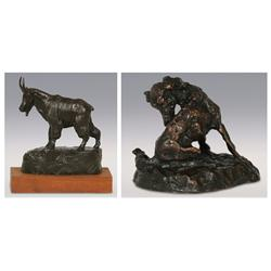 Two Bronzes. Earle E. Heikka, Mountain Goat, 1974 and Gary Schildt, Dog