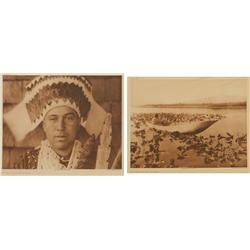 Edward S. Curtis, two photogravures on tissue, Plates 455 & 462