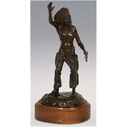 "Robert Scriver, bronze, 14"" x 6 1/2"" x 5"", Friend or Foe. Cowboy Artists of America."