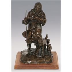 "Ace Powell, bronze, 1978, 13"" x 11"" x 9"", Woman and Dogs"