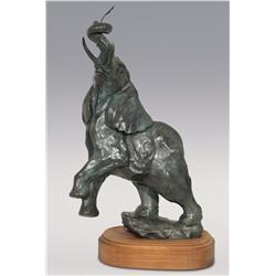 """Sherry Sander, bronze, 1985, 18"""" x 10"""" x 7"""", Elephant"""
