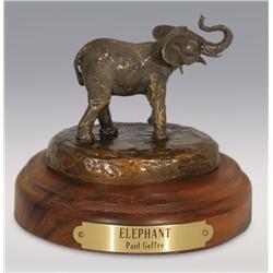 "Paul Geffre, bronze, 3"" x 3"", Elephant"