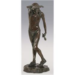 """Louis Potter, bronze, 29"""" x 20"""" x 10 1/2"""", Dancing Medicine Man"""
