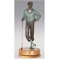"""Jerry Snodgrass, bronze, 1995, 21 1/2"""" x 8 1/2"""", Tee Time"""