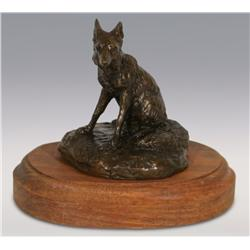"Robert Scriver, bronze, 4 1/2"" x 4 1/2"" x 4"", Red Fox, Cowboy Artists of America"