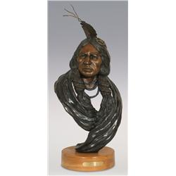 "Jerry Snodgrass, bronze, 1991, 26"" x 12"" x 12"", Cheyenne"