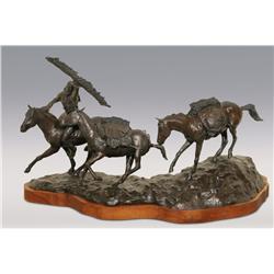 """Dan Huber, bronze, 1980, 21"""" x 31"""" x 12"""", Joe Meek"""