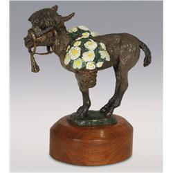 "Dan Huber, bronze, 1980, 7 1/2"" x 7"" x 3 1/2"", Donkey Carrying Flower Baskets"