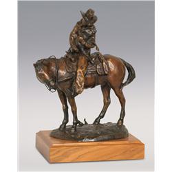 "Dan Huber, bronze, 1980, 17"" x 13"" x 8 1/2"", A Helping Hand"