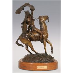 "Dan Huber, bronze, 1981, 17"" x 11"" x 8"", The Toll"
