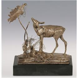 "Charles M. Russell, Trigg silver bronze, 5 1/2"" x 5 1/2"" x 3"", Standing Doe"