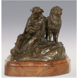 "Robert Scriver, bronze, 10"" x 12"" x 11"", Capt Lewis and Our Dog Scannon. Cowboy Artists of America"
