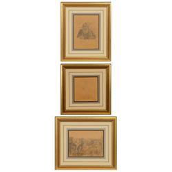 Burt Procter, three pencil drawings