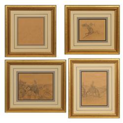 Burt Procter, four pencil drawings