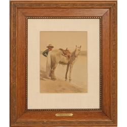 Frank Tenney Johnson, watercolor, dated 1903