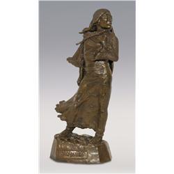 "Leo Beaulaurier, bronze, 1977, 13"" x 5"" x 3"", Sacajawea"