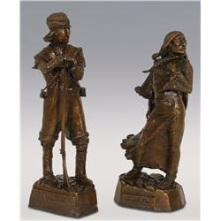 """Leo Beaulaurier, two bronzes, Sacajawea 13 1/2"""" x 5"""" and Meriwether Lewis 14 1/2"""" x 5 1/2"""""""