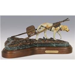 "David Manuel, bronze, 1993, 9"" x 13"" x 12"", Nez Perce Pack Dog"