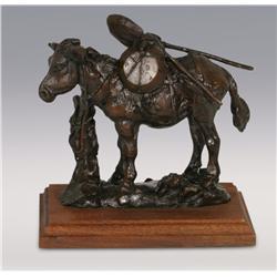 "Gary Schildt, bronze, 1977, 7 1/2"" x 7 1/2"" x 4 1/2"", Blackies Burro"