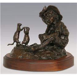 """Gary Schildt, bronze, 1984, 9"""" x 12"""" x 8 1/2"""", Boy Trapping Prairie Dogs"""