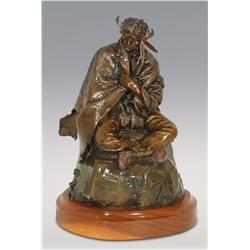 "Lorenzo Ghiglieri, bronze, 1981, 15"" x 11 1/2"", Seated Indian Chief"