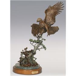 "Tim Sullivan, bronze, 1988, 29"" x 20"", Against the Wind"