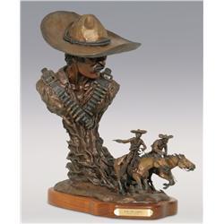 """Gary Cooley, bronze, 1984, 18"""" x 15"""" x 7"""", Run for Juarez"""