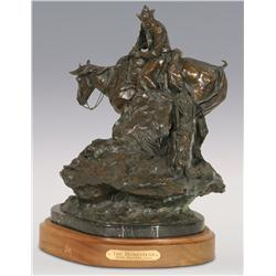 """Herb Mignery, bronze, 1992, 17"""" x 15"""" x 13"""", The Homestead. Cowboy Artists of America."""
