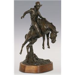 "Curtis Zabel, bronze, 1984, 17"" x 9"" x 11"", Angora Chaps"