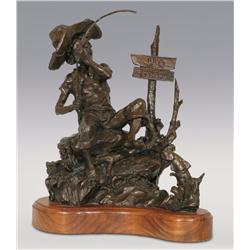 "Gary Schildt, bronze, 1980, 15"" x 12"" x 10"", No Fishing"