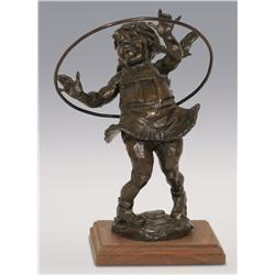 """Gary Schildt, bronze, 1977, 12"""" x 9"""" x 9"""", Hoola Hoop Girl"""