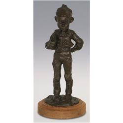 """Gary Schildt, bronze, 1984, 11 1/2"""" x 5 1/2"""", Boy with Book"""